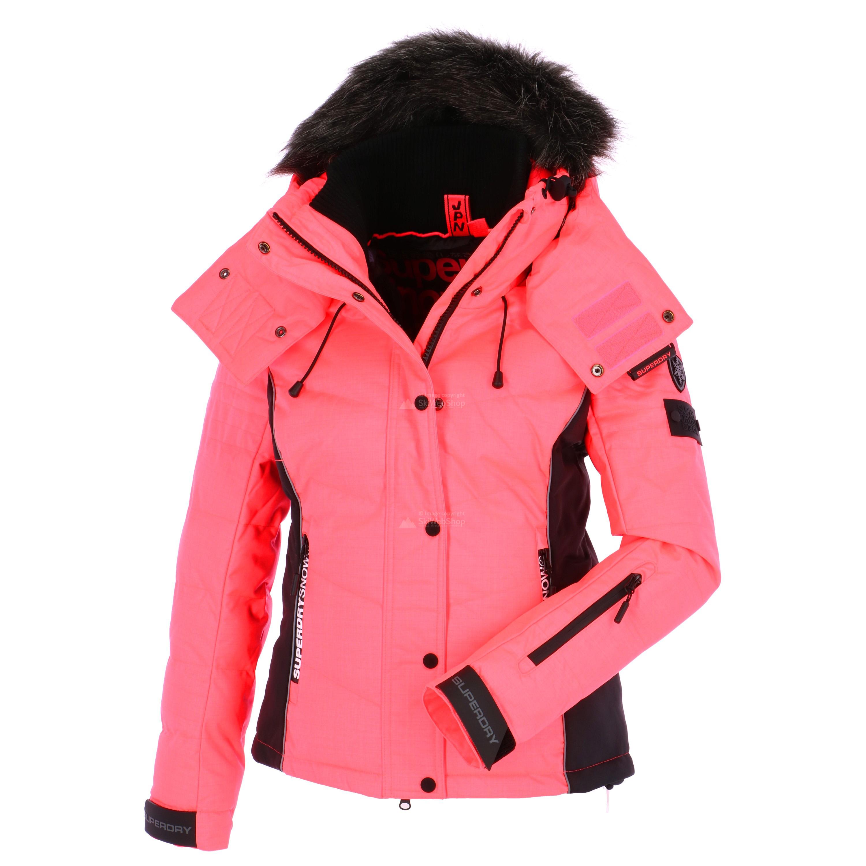 Superdry Snow Puffer Ski Jacket Women Fluro Coral Black