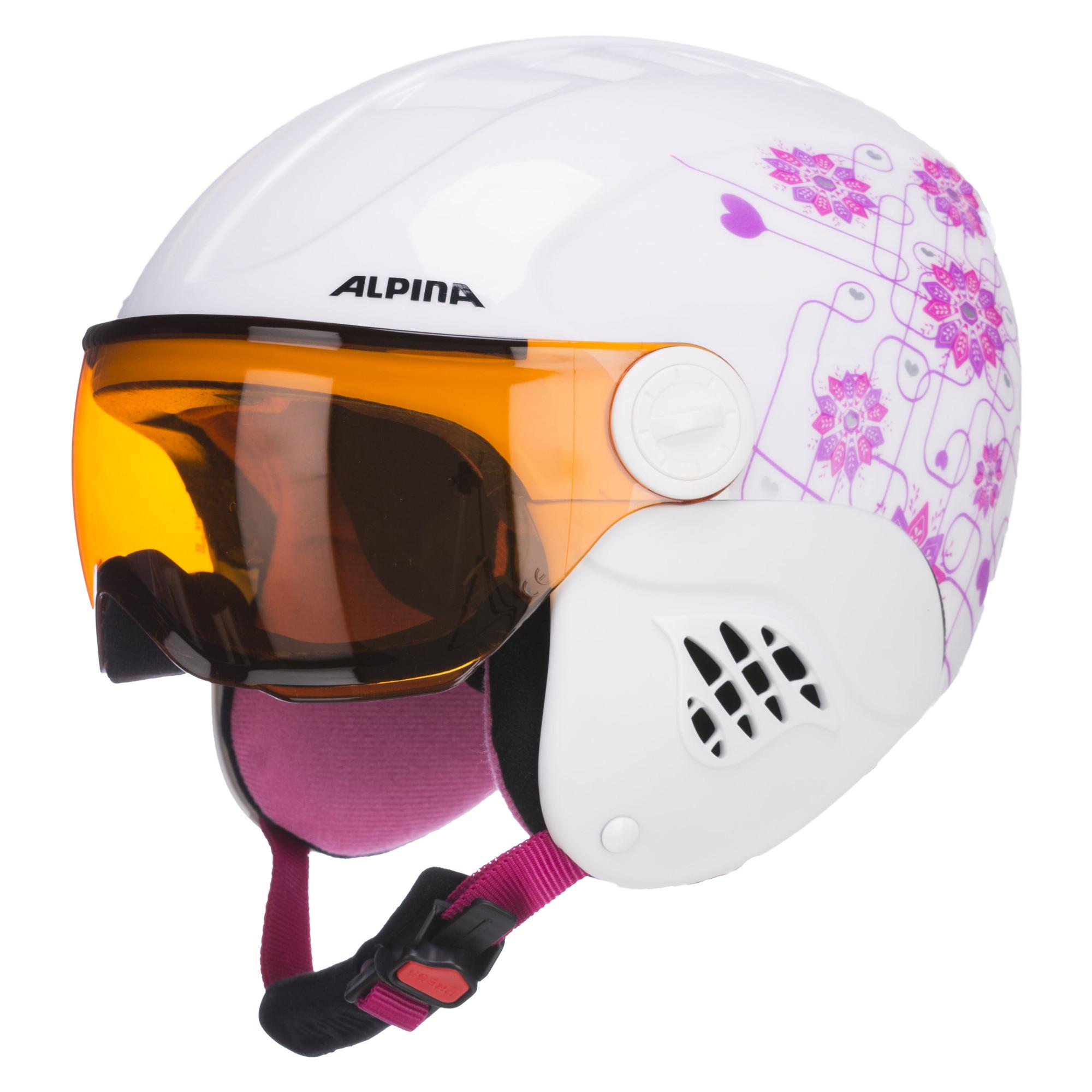 Alpina Carat Visor ski helmet children white pink