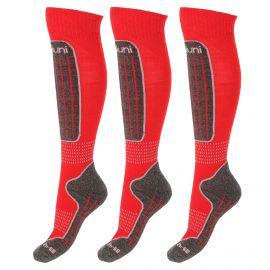 Deluni, 3 paar, ski socks, red