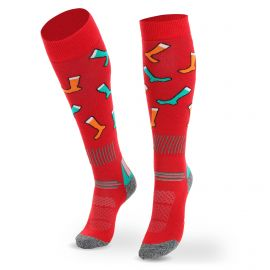 Deluni, Joyride Socks on Socks ski socks red
