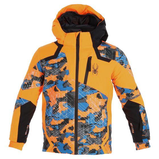 Spyder, Leader ski jacket kids camo maze print orange