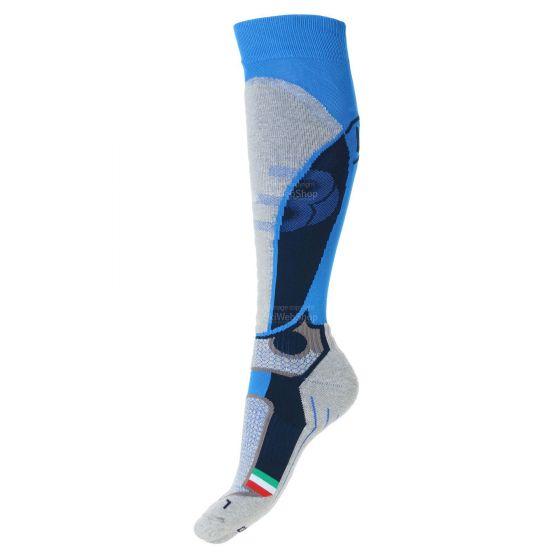 Mico, Medium weight X-race, ski socks, azzurro blue/grey