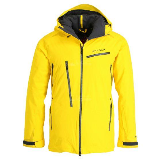 Spyder, Hokkaido GTX, ski jacket, long model, men, Sun yellow