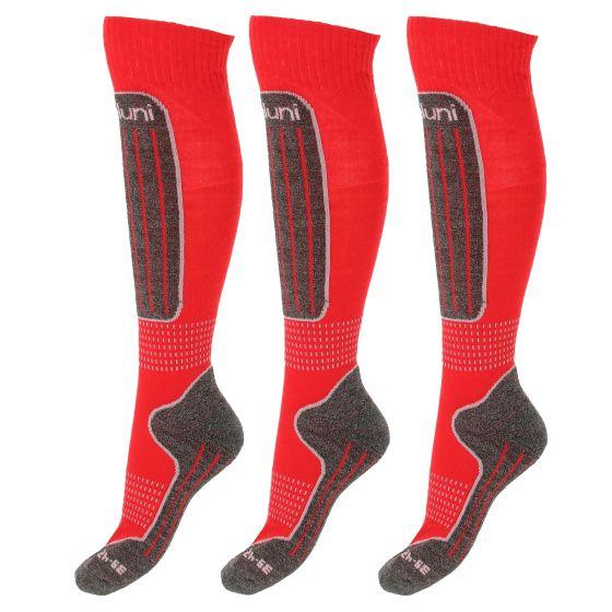Deluni, 3 paar, ski socks, kids, red