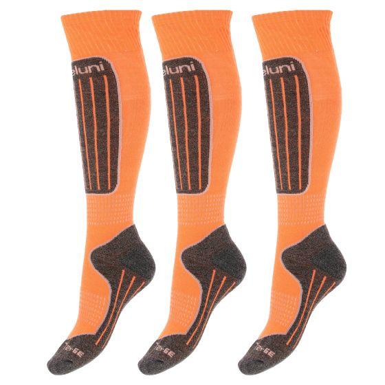 Deluni, 3 paar, ski socks, orange