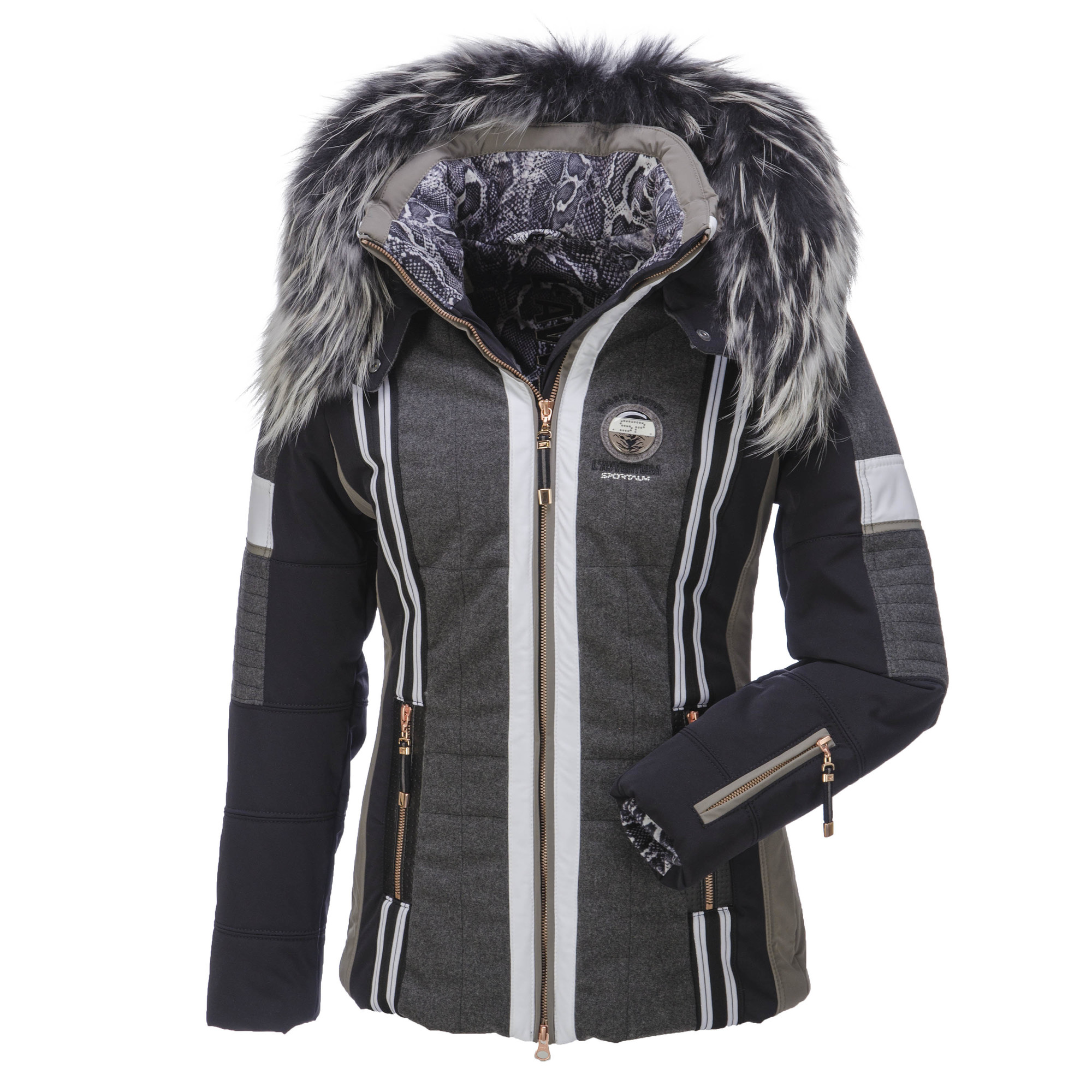 sportalm kitzb hel saiwa ski jacket with fur collar woman black. Black Bedroom Furniture Sets. Home Design Ideas